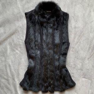 Dolce Cabo rabbit fur zipper front vest in black
